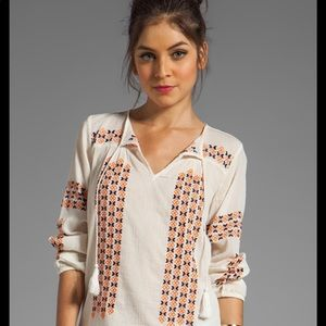 Joie embroidered peasant top Sz M